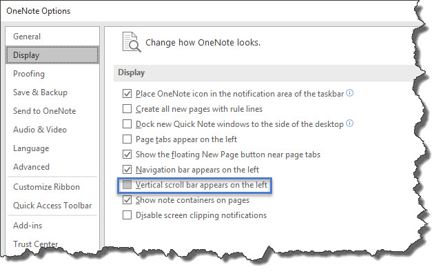 OneNote Option - Vertical Scroll Bar Appears on the Left
