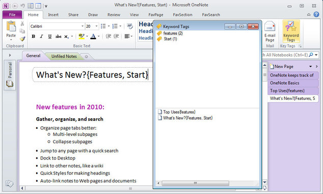 OneNote Keyword Tags Window