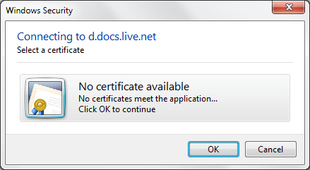 OneNote Connecting to d.docs.live.net No certificate available